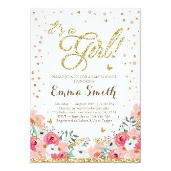It's A Girl Baby Shower Invitation Floral Garden