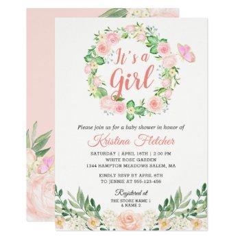 It's A Girl Blush Peach Floral Garden Baby Shower Invitation