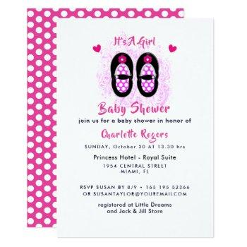 It's A Girl Cute Shoes Baby Shower Invitation