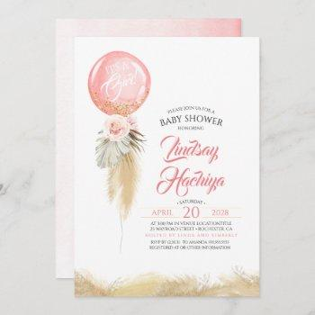 It's A Girl Pampas Grass Pink Balloon Baby Shower Invitation