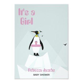 """it's A Girl"" Penguin Baby Shower Invitation"