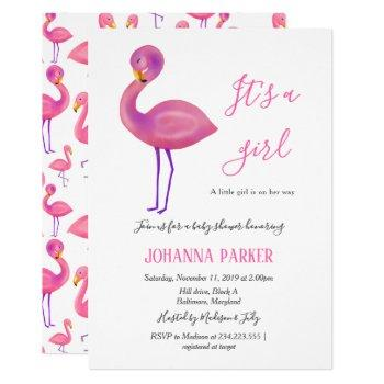 Its A Girl | Pink Flamingo | Baby Shower Invitation