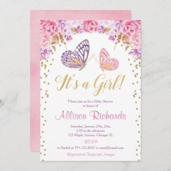 It's A Girl Pink Purple Gold Elegant Butterfly Invitation