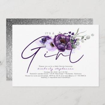 It's A Girl Purple Flowers Baby Shower Invitation