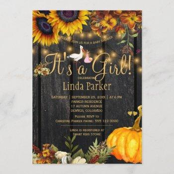 It's A Girl Rustic Fall Sunflower Baby Girl Shower