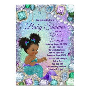 Jewel Mermaid Afro Hair Baby Shower Invitation