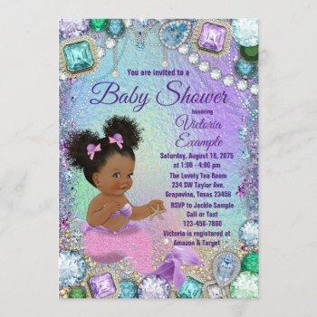 Jewel Mermaid Afro Hair Pink Mermaid Baby Shower Invitation