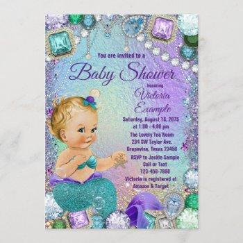 Jewel Mermaid Blonde Mermaid Baby Shower Invitation