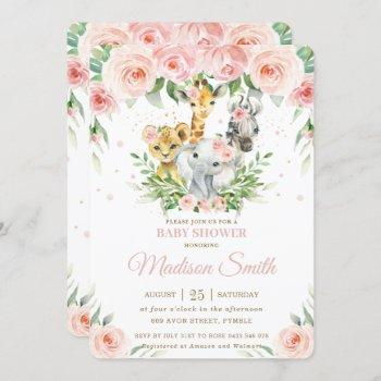 Jungle Animal Safari Pink Blush Floral Baby Shower Invitation