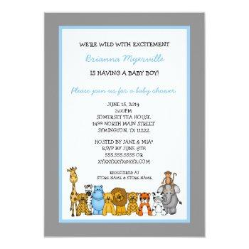 Jungle Animals Boy Baby Shower Invites
