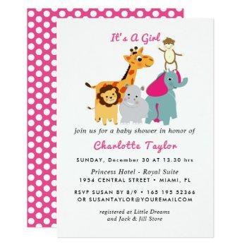 Jungle Animals Cute Baby Shower Invitation