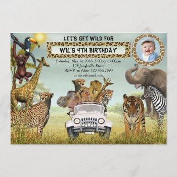 Jungle Animals Safari Birthday Photo Invitation