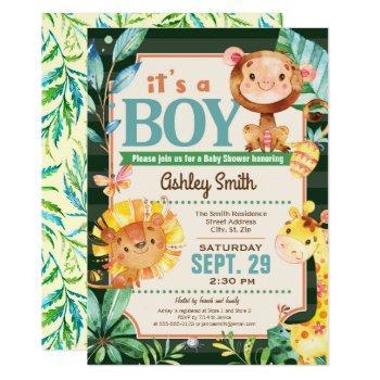 Jungle Baby Shower Invitation Boy