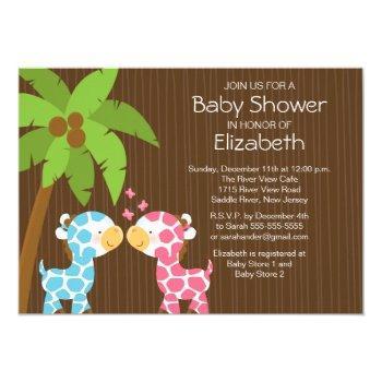 Jungle Giraffe Twins Baby Shower Invitation