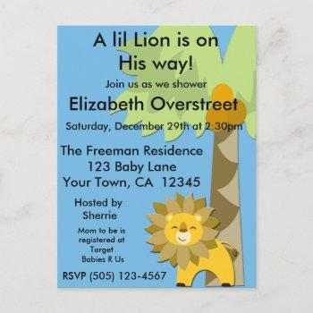Jungle King Lion Baby Shower Blue Sky Zoo Safari Invitation Postcard