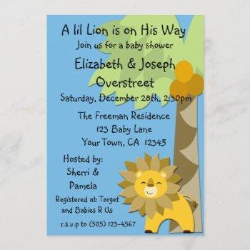 Jungle King Lion Blue Sky Baby Shower Zoo Safari Invitation