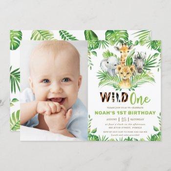 Jungle Safari Animals Greenery 1st Birthday Photo Invitation