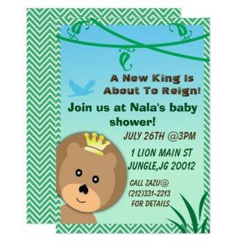 Jungle Themed Lion Baby Shower Invitation
