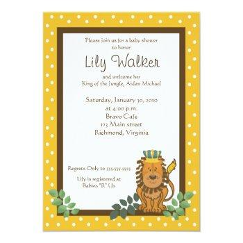 King Of The Jungle Lion Baby Shower 5x7 Invite