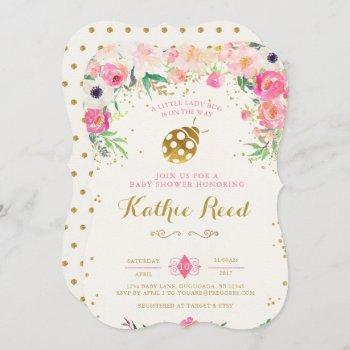 Ladybug Baby Shower Invitation Pink