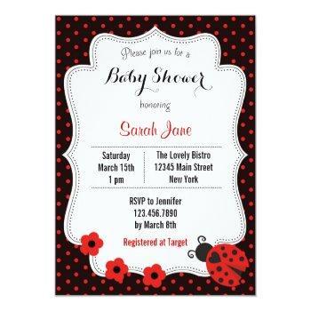 Ladybug Baby Shower Invitation Polka Dots Red