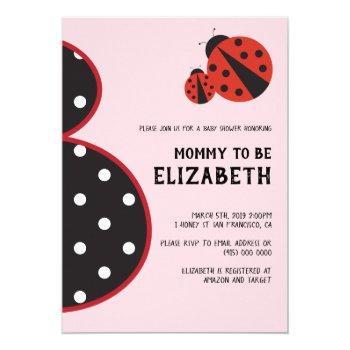 Ladybug Baby Shower Invitation Pregnant Silhouette