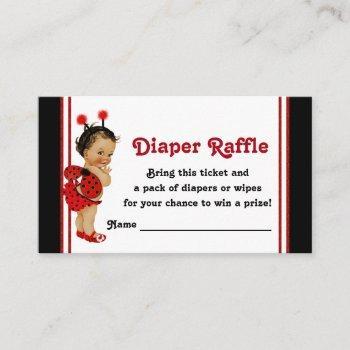 Ladybug Diaper Raffle Tickets Ethnic Baby Girl Enclosure Card