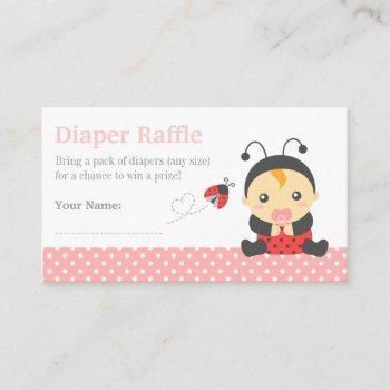 Ladybug Girl Baby Shower Diaper Raffle Tickets Enclosure Card