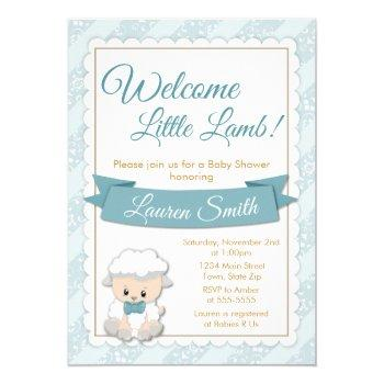 Lamb Baby Shower Invitation Blue Baby Boy Lamb