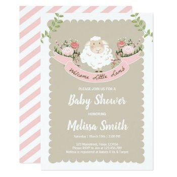 Lamb Baby Shower Invitation Girl Pink Spring