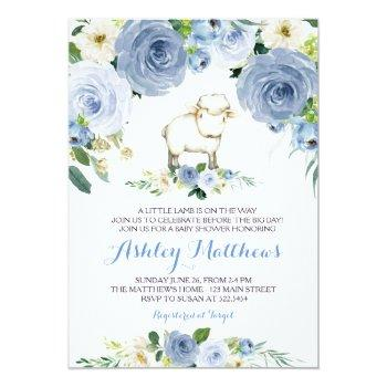 Lamb Blue Flower Baby Shower Invitation