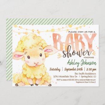 Lamb / Sheep Farm Baby Shower Invitation