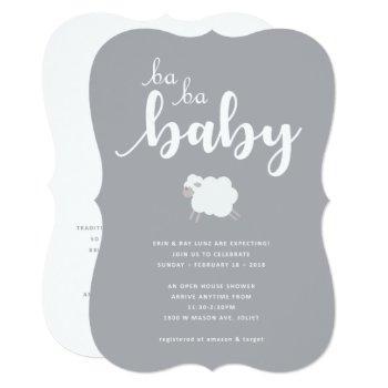 Lamb Theme Baby Shower Invitation