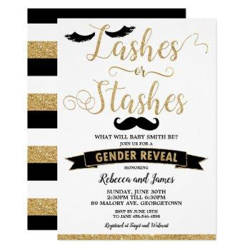 Lashes Or Stashes Gender Reveal Baby Shower Gold Invitation