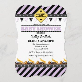 Lavender Construction Baby Shower Invitation