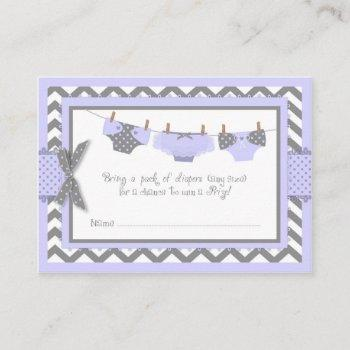 Lavender Elephant Bird And Diaper Raffle Ticket Enclosure Card