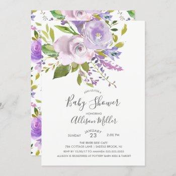 Lavender Floral Baby Shower Invitation
