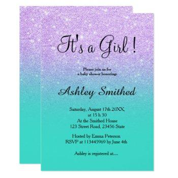 Lavender Glitter Turquoise Ombre Girl Baby Shower Invitation
