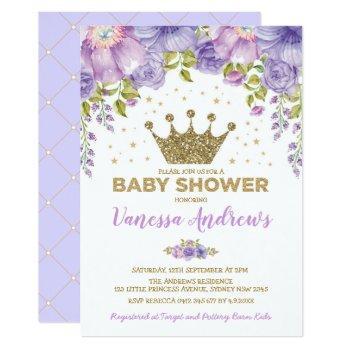 Lavender Gold Crown Princess Floral Baby Shower Invitation