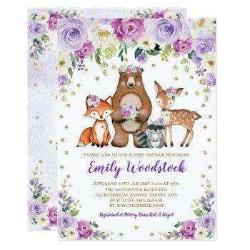 Lavender Gold Floral Woodland Animals Baby Shower Invitation