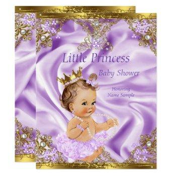 Lavender Gold Princess Baby Shower Brunette Girl Invitation