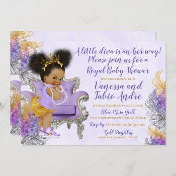 Lavender Silver Gold Watercolor Baby Shower Invitation