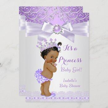 Lavender White Lilac Princess Baby Shower Ethnic Invitation