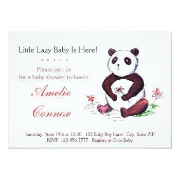 Lazy Chinese Panda Funny Baby Shower Invitation