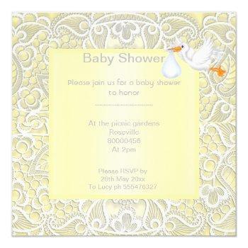 Lemon Yellow Lace Elegant Baby Shower Stork Invitation
