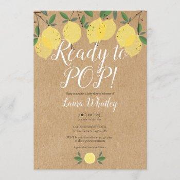 Lemons Ready To Pop Baby Shower Rustic Invitation