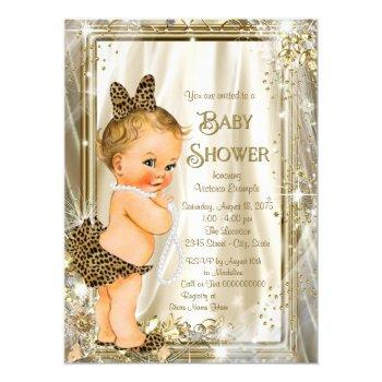 Leopard Pearl Glam Girly Baby Shower Invitation