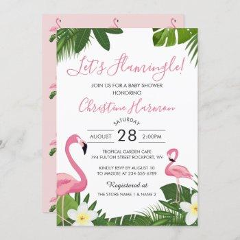 Let's Flamingle Tropical Pink Flamingo Baby Shower Invitation