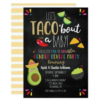 Let's Taco 'bout A Baby Fiesta Theme Gender Reveal Invitation
