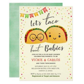 Let's Taco Bout Babies Co-ed Twin Baby Shower Invitation